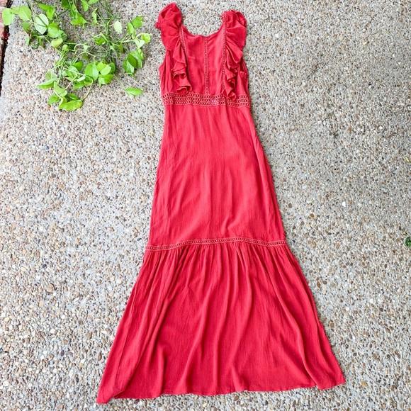 rush Dresses & Skirts - Rush Red Crochet Ruffle Maxi Dress Small